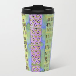 Blue Vertical Stripes and Ornaments  Travel Mug