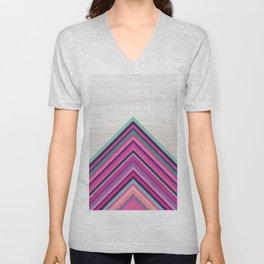Wood and Bright Stripes, Chevron - Geometric Design Unisex V-Neck