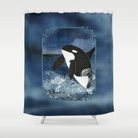 killer whale Shower Curtains featuring Killer Whale Orca by Aquamarine Studio