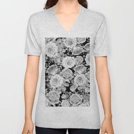 ROSES ON DARK BACKGROUND Unisex V-Neck