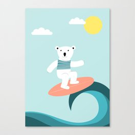 Polar bear surfing. Canvas Print