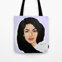aaliyah Tote Bags featuring Aaliyah remembered  by Catheriney