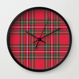 Red Tartan Wall Clock