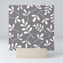 Assorted Leaf Silhouettes Cream on Grey Mini Art Print