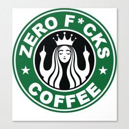 Starbucks Logo Parody - Zero Fucks - Middle Finger - Flipping Off - Funny - Humor - Cafe - Coffee Canvas Print