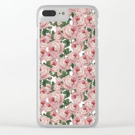 Pink Vintage Roses Collage Clear iPhone Case