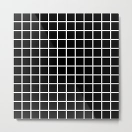 Back to School- Simple Grid Pattern- Black & White- Mix & Match with Simplicity of Life Metal Print