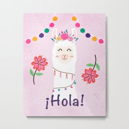 ¡Hola! Cute Pink Alpaca - Boho Llama Illustration Metal Print