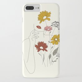 Colorful Thoughts Minimal Line Art Woman with Flowers III iPhone Case