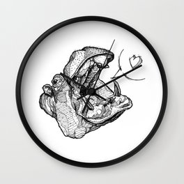 Hippos need love Wall Clock