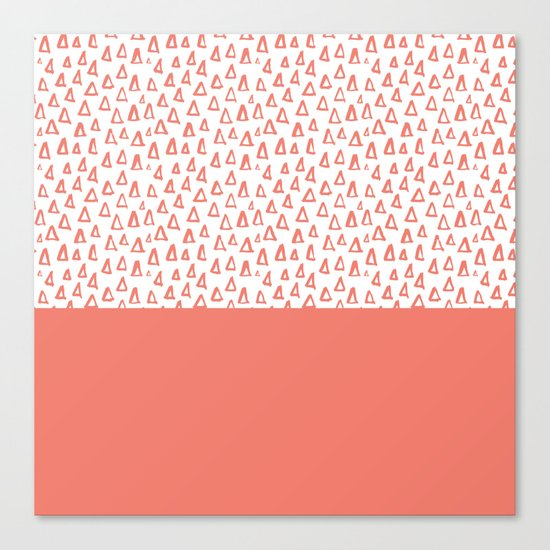 Triangles Coral Red Canvas Print