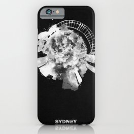 Sydney, Australia Black and White Skyround / Skyline Watercolor Painting (Inverted Version) iPhone Case