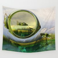 glass Wall Tapestries featuring Slipping thru time like sun rays on glass by Donuts