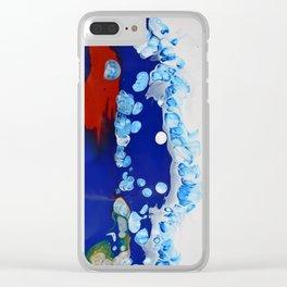 Navy Burgundy Fluid Art Cells Bubbles Unique Clear iPhone Case