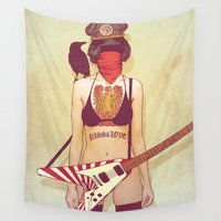 punk rock Wall Tapestries featuring Punk Rock Raven by FlushDelay