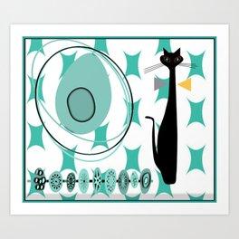 Mid-Century Modern Atomic Art - Teal - Cat Art Print