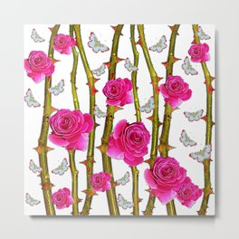 WHITE BUTTERFLIES & PINK ROSE THORN CANES WHITE ART Metal Print