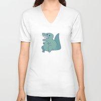 dinosaur V-neck T-shirts featuring Dinosaur by StickyHunter