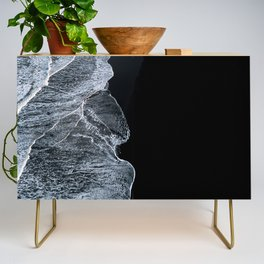 Waves on a black sand beach in iceland - minimalist Landscape Photography Credenza