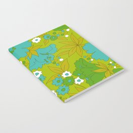 Green, Turquoise, and White Retro Flower Design Pattern Notebook