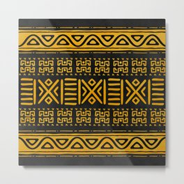 Ethnic African Pattern Yellow and Black N2 Metal Print