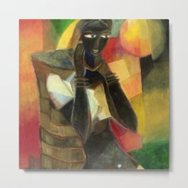 African American Masterpiece Tea Farmer Young Woman Going to Morning Market portrait painting by R. Segar Metal Print