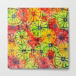 Summer Lemons, Colorful Pattern Metal Print