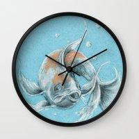 koi fish Wall Clocks featuring Koi Fish by Daydreamer