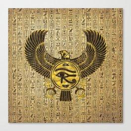 Egyptian Eye of Horus - Wadjet Gold and Wood Canvas Print