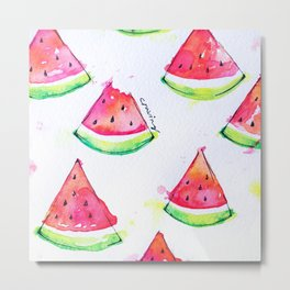 Watermelon Watercolor Print  Metal Print