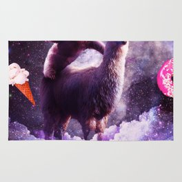 Outer Space Sloth Riding Llama Unicorn - Donut Rug