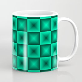 Chess tile of blue rhombs and black strict triangles. Coffee Mug