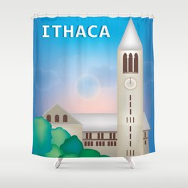 Ithaca, New York - Skyline Illustration by Loose Petals Shower Curtain