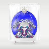 sea horse Shower Curtains featuring Sea Horse Kiss by Lorelei Douglas