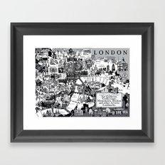 Map of London Art Landmarks Framed Art Print