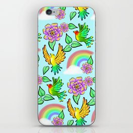 Birds Flowers and Rainbows Doodle Pattern iPhone Skin