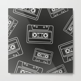 Mix tape Outline Pattern on Black Background. Music Cassettes Metal Print