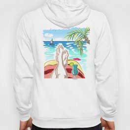 Selfie with Mens Legs and Cocktail on a Ocean Beach Hoody