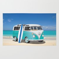 surfboard Area & Throw Rugs featuring Teal Hippy Bus with Surfboard Oval by FrankSchuster