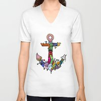 anchor V-neck T-shirts featuring anchor by ybalasiano