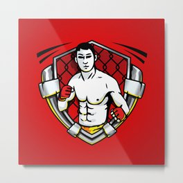 Cage Fighter - MMA - Illustration Metal Print