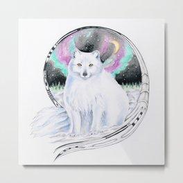 Arctic Polar White Fox Aurora Borealis Stars Ink Metal Print