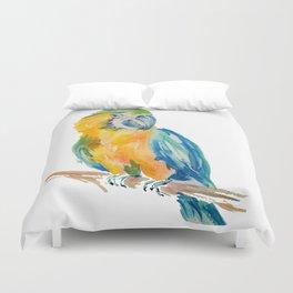 Parrot watercolour painting Duvet Cover