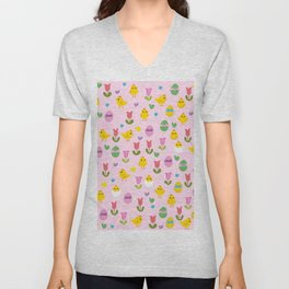 Easter - chick and tulips pattern Unisex V-Neck