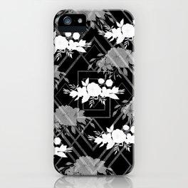 Geometrical modern black white floral pattern iPhone Case