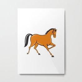 Horse Cantering Side Cartoon Metal Print