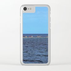 Walking to Perce Rock at low tide Clear iPhone Case