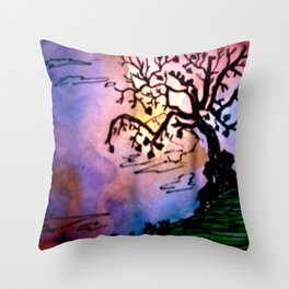 Love Tree Watercolor Painting Throw Pillow