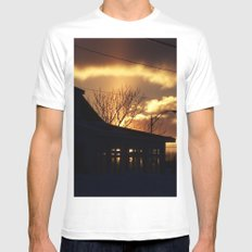 Winter Sunset Silhouette MEDIUM White Mens Fitted Tee