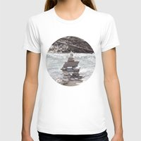 allyson johnson T-shirts featuring Johnson Canyon Inukshuk by RMK Photography